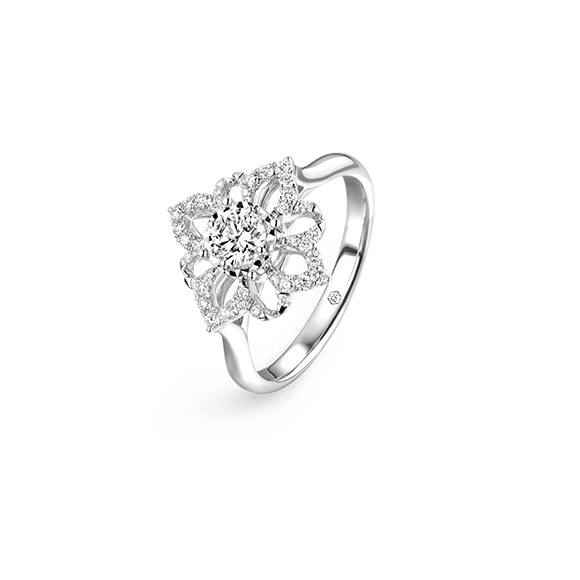"""Wedding Collection""""Love Story""""18K White Gold Diamond Ring"""