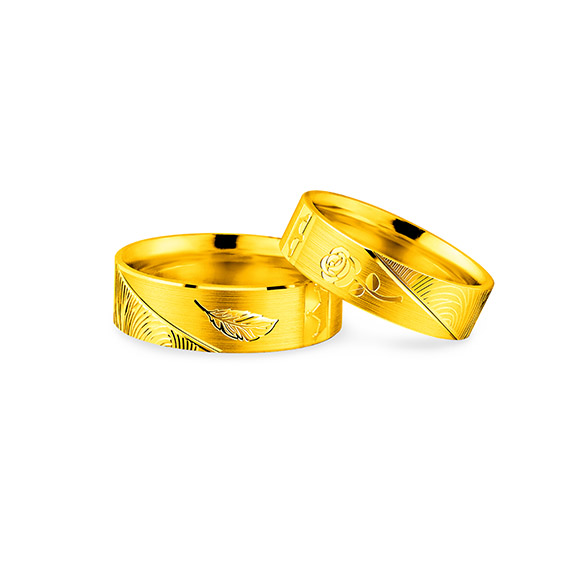"""Beloved Collection""""Flourishing Flowers & Leaves""""Gold Pair Rings"""