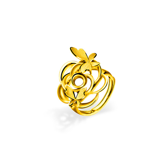 """Beloved Collection""""Butterflies Dancing in Flowers""""Gold Ring"""