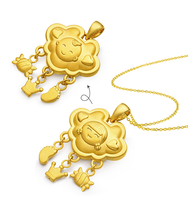 """Hugging Family Ting-ting & Ka-ka """"Well being"""" ( Gold Candy, Gold Crown, Gold Foot) Gold Lock"""