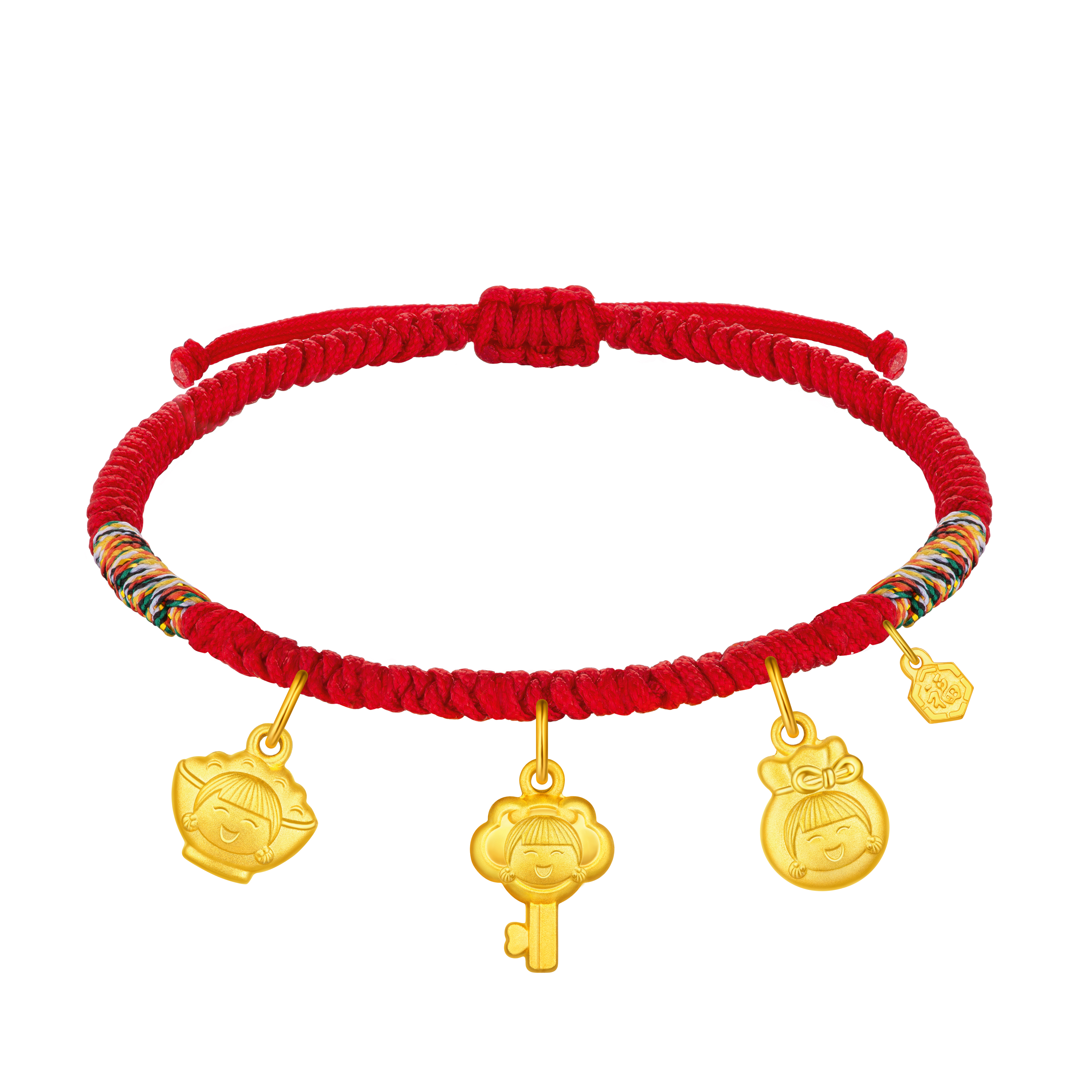 """Hugging Family Ting ting """"Auspicious Treasures"""" (Gold Bowl, Gold Key,Gold Lucky Bag) Gold Cord Bracelet"""