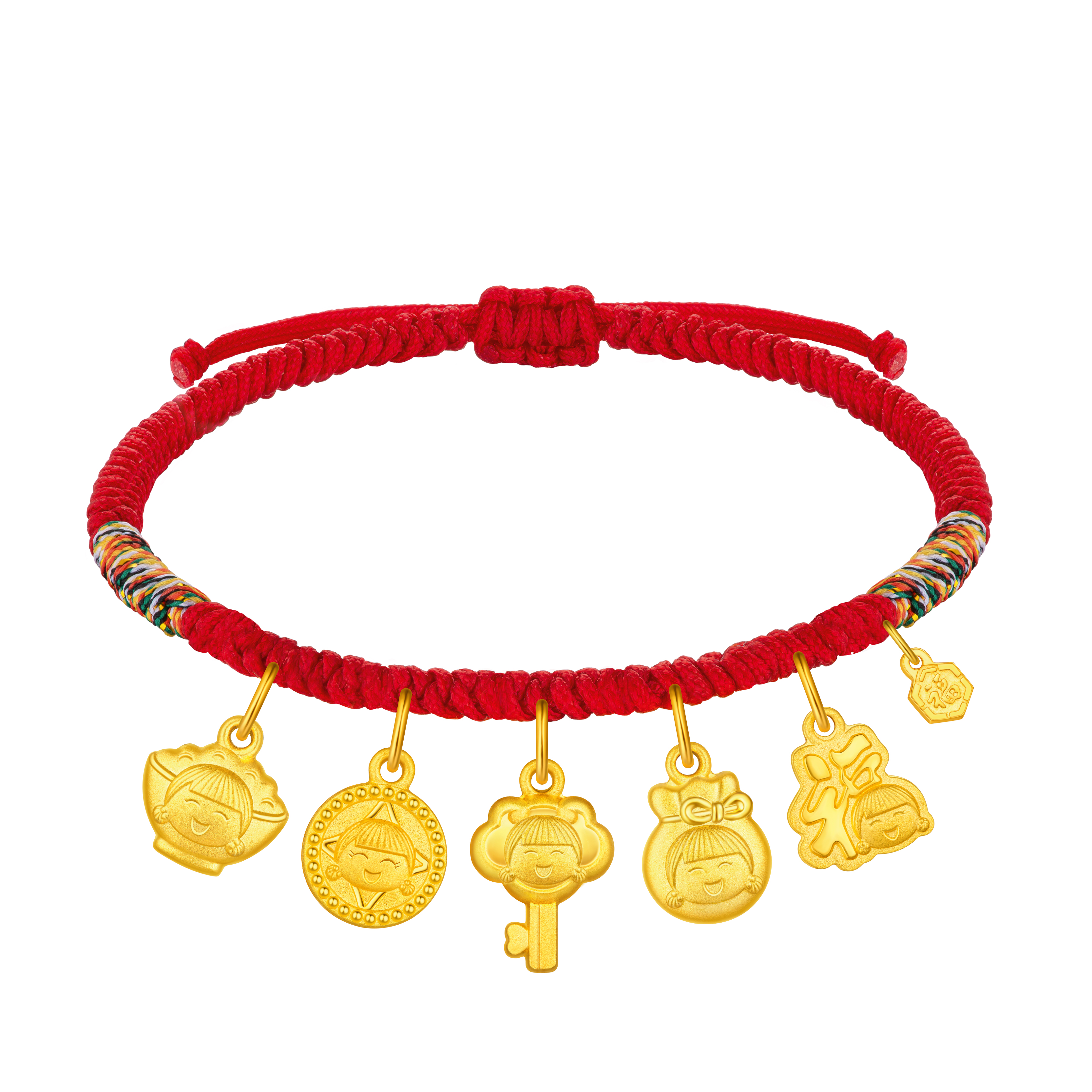 """Hugging Family Ting ting """"Auspicious Treasures"""" (Gold Bowl, Gold Coin, Gold Key, Gold Lucky Bag, Gold Fortune) Gold Cord Bracelet"""
