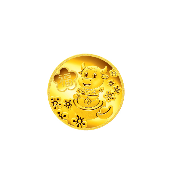 """Treasure Ox Collection""""Wish you good fortune in the Year of the Ox"""" Gold Coin"""