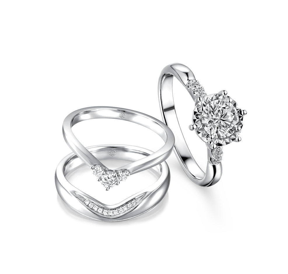 Wedding Collection「愛藏於心」18K Gold Diamond Engagement and Wedding Rings