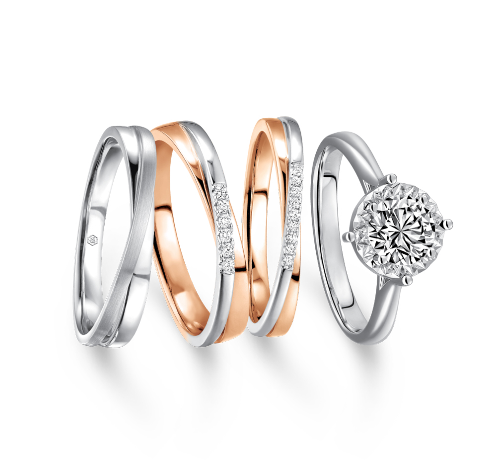 Wedding Collection 18K Gold Diamond Engagement and Wedding Rings