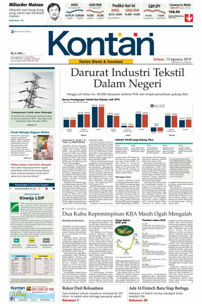Kontan Harian - 13 Agustus 2019