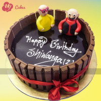 Cake for KitKat Chocolate Lover. Make your special ones surprise with these delicious chocolate cake round with KitKat bars. This cake not just tastes delicious, but also looks eye pleasing with cute motu-patlu figure fondant. The cake can be delivered online, which is the best online cake delivery service in Kathmandu.  All cakes are baked with hygiene and quality in the top of our priority at our own state-of-the-art baking facility and quality checked twice by our expert QC team before delivery. You can send cakes or gifts to your loved ones in Nepal or shop online for yourself in Nepal with UG Bazaar, a pioneer in online shopping in Nepal.