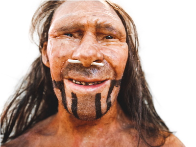 Realistic prehistoric early man Neanderthal reproduction in Trento Museum of Natural History, Italy
