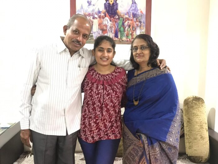 Gauri with her parents
