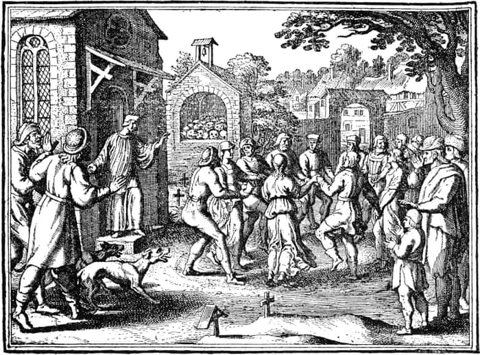 Illustration showing mass hysterical dances by those suffering from St Vitus' dance