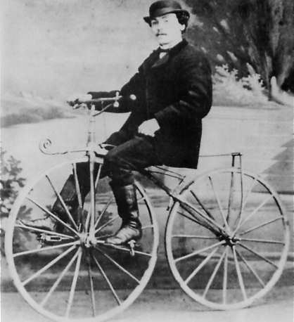 Pierre Lallemant riding his own invention in Paris in 1870