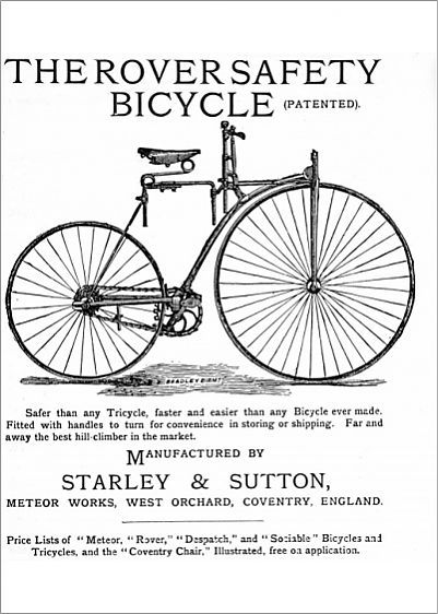 An ad from 1885 selling John Kemp Starley Rover Safety Bicycles.