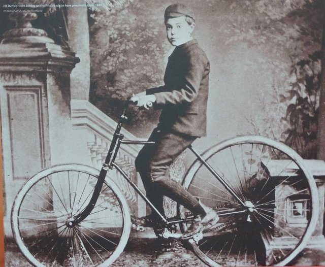 John B. Dunlop's Son on the First Bicycle to have Pneumatic tyres