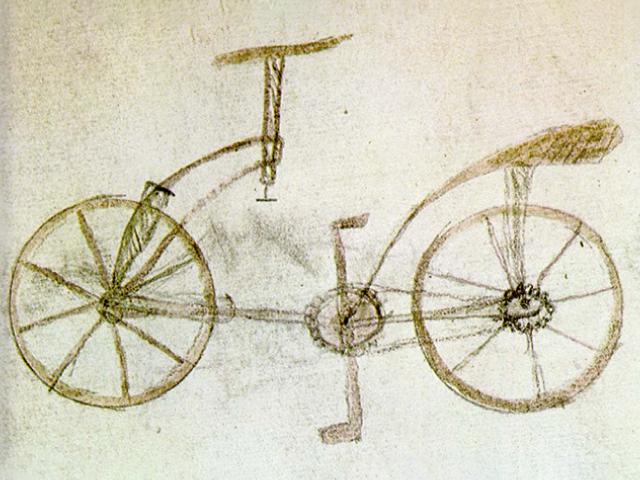Leonardo da Vinci's version of the bicycle.