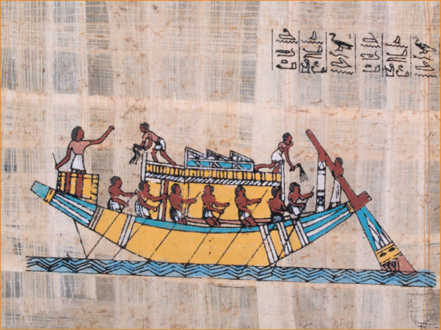 An ancient Egyptian papyrus showing a boat on the Nile River