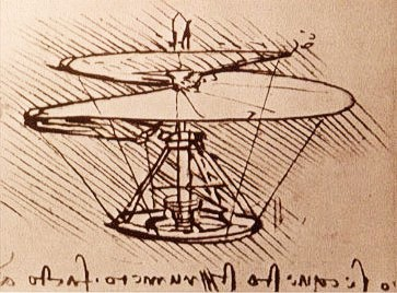 Da Vinci's design for an aerial screw from 1480s that looks like a helicopter. Image source: Wikimedia Commons