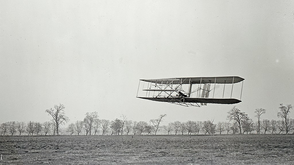 Orville Wright on a flight. Image source: Wikimedia Commons