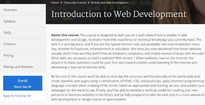 khóa học trực tuyến phát triển trang web