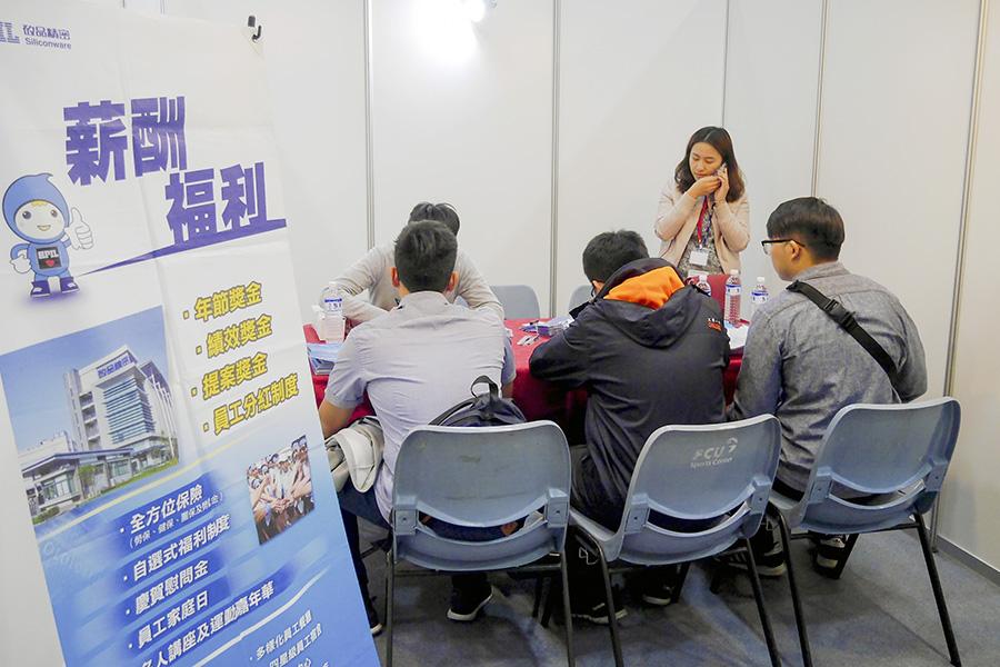 許多學生排隊遞交履歷表。
