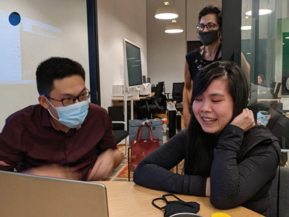 writers ng qi siang and samantha chiew with executive editor goola warden- THE EDGE SINGAPORE