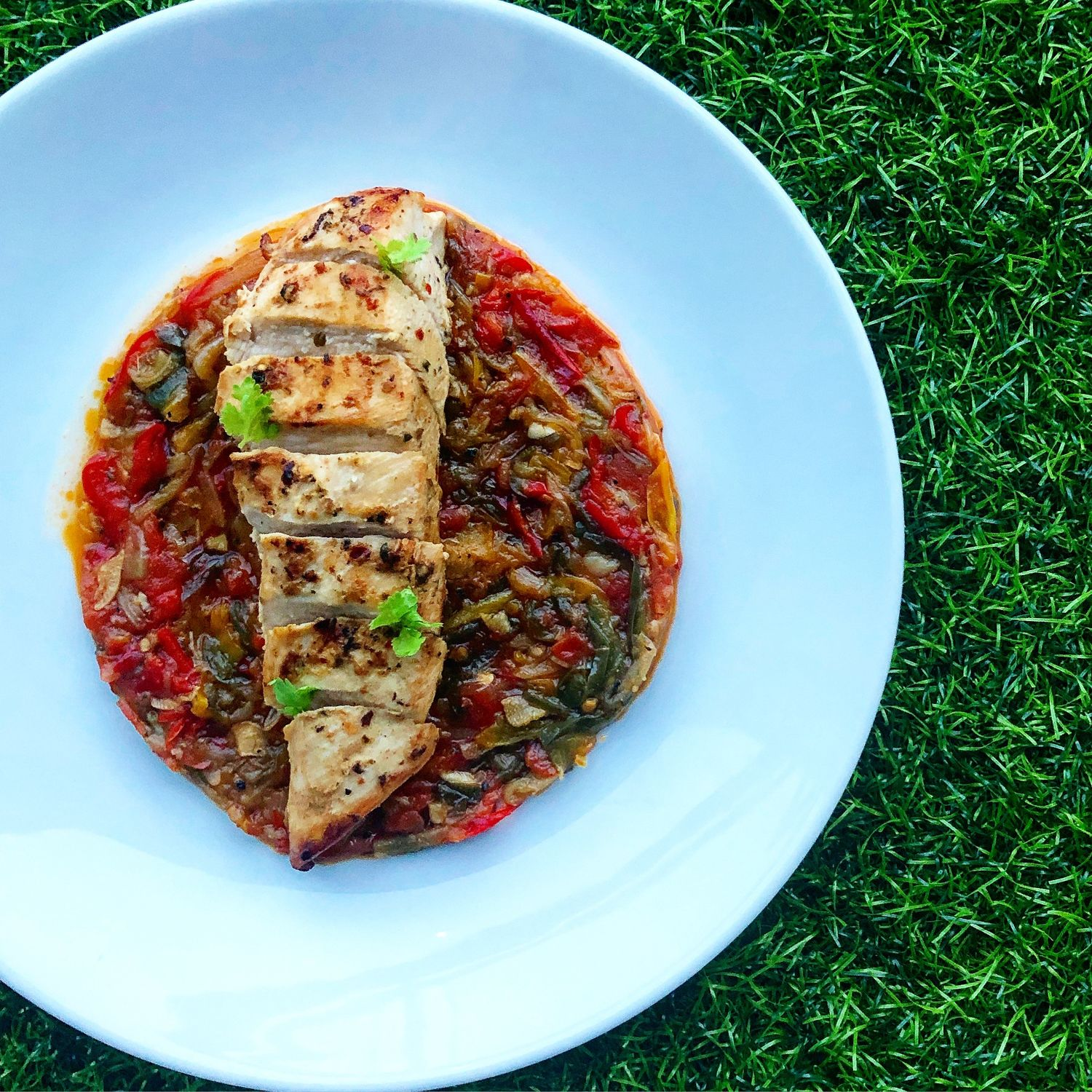 Pan-seared Herb Chicken with Basque Pipérade - THE EDGE SINGAPORE