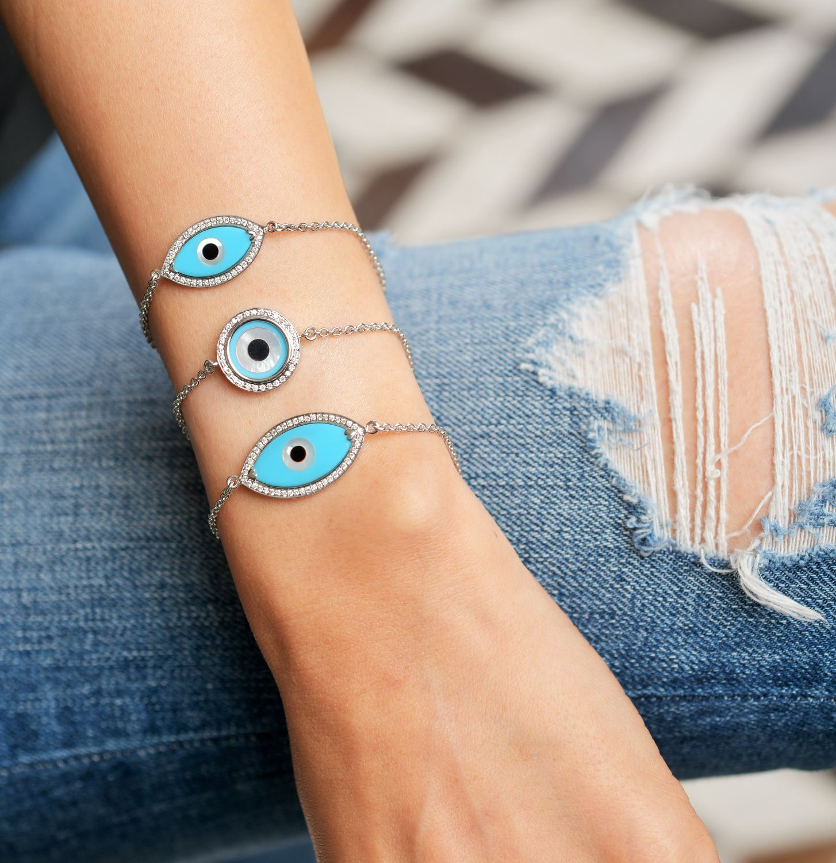 KAJ Fine Jewellery Classic White Gold Marquise Mother of Pearl Blue Evil Eye Diamond Chain Bracelet