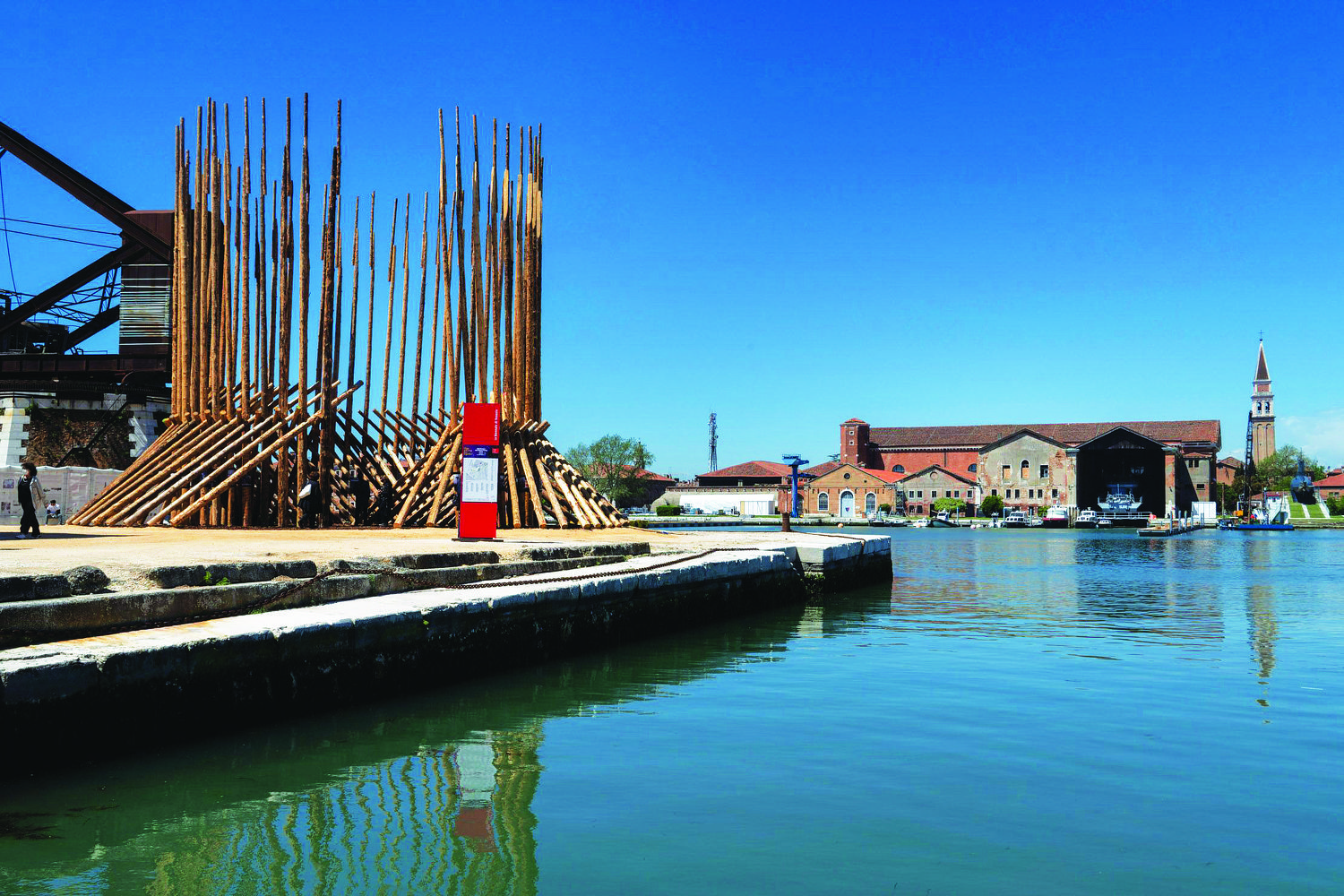 installation of wooden spikes by the Chilean group Elemental outside the Arsenale in Venice - THE EDGE SINGAPORE