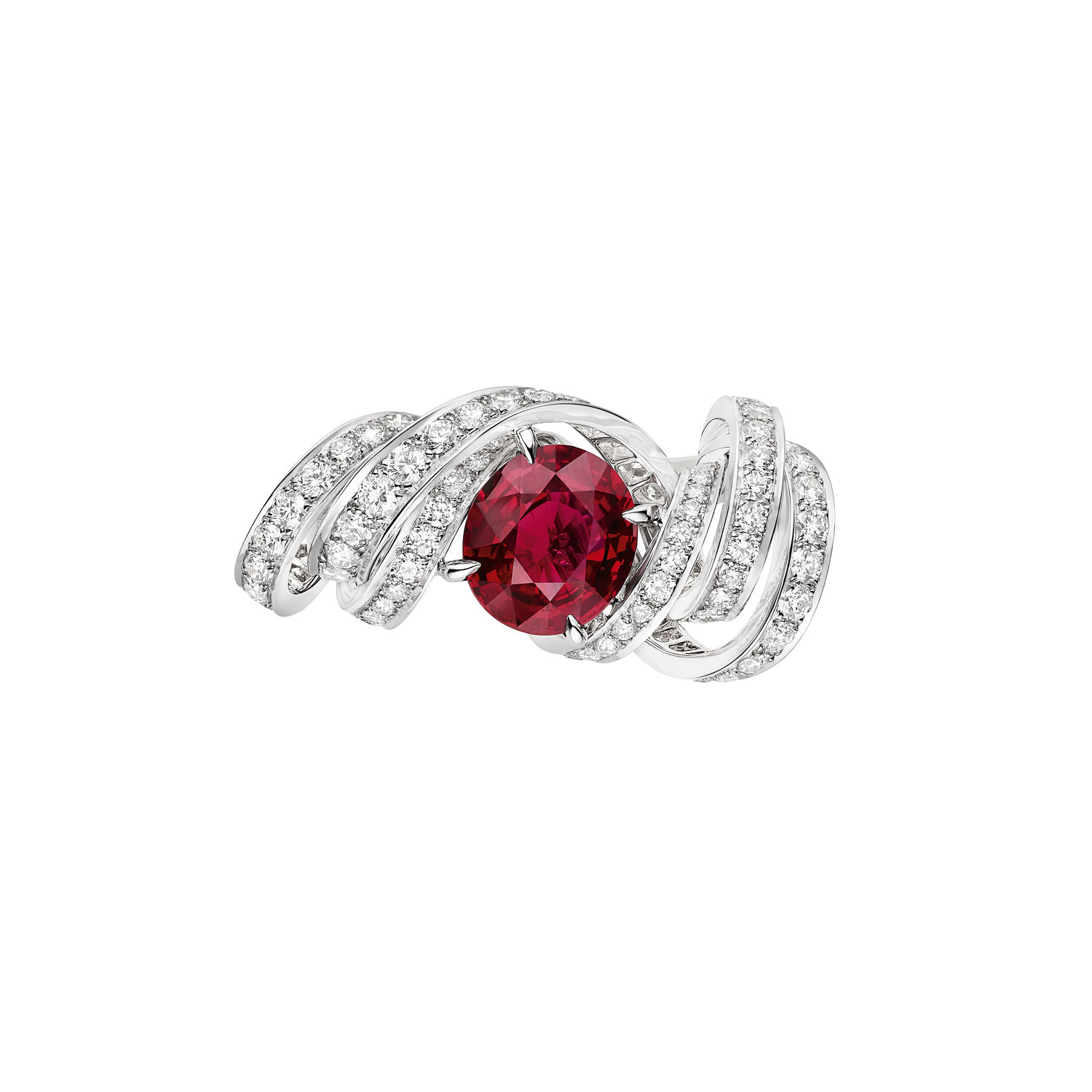 Torsade de Chaumet ring in white gold set with an oval cut Vivid Red Mozambique ruby of 3.05 carats and brilliant cut diamonds - THE EDGE SINGAPORE