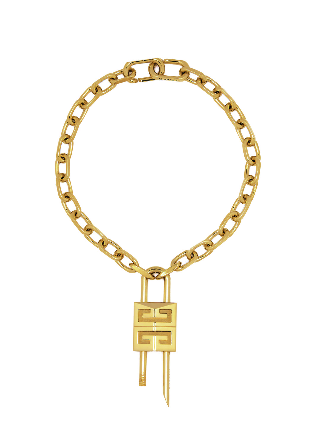 4G Lock necklace in gold metal finish - THE EDGE SINGAPORE