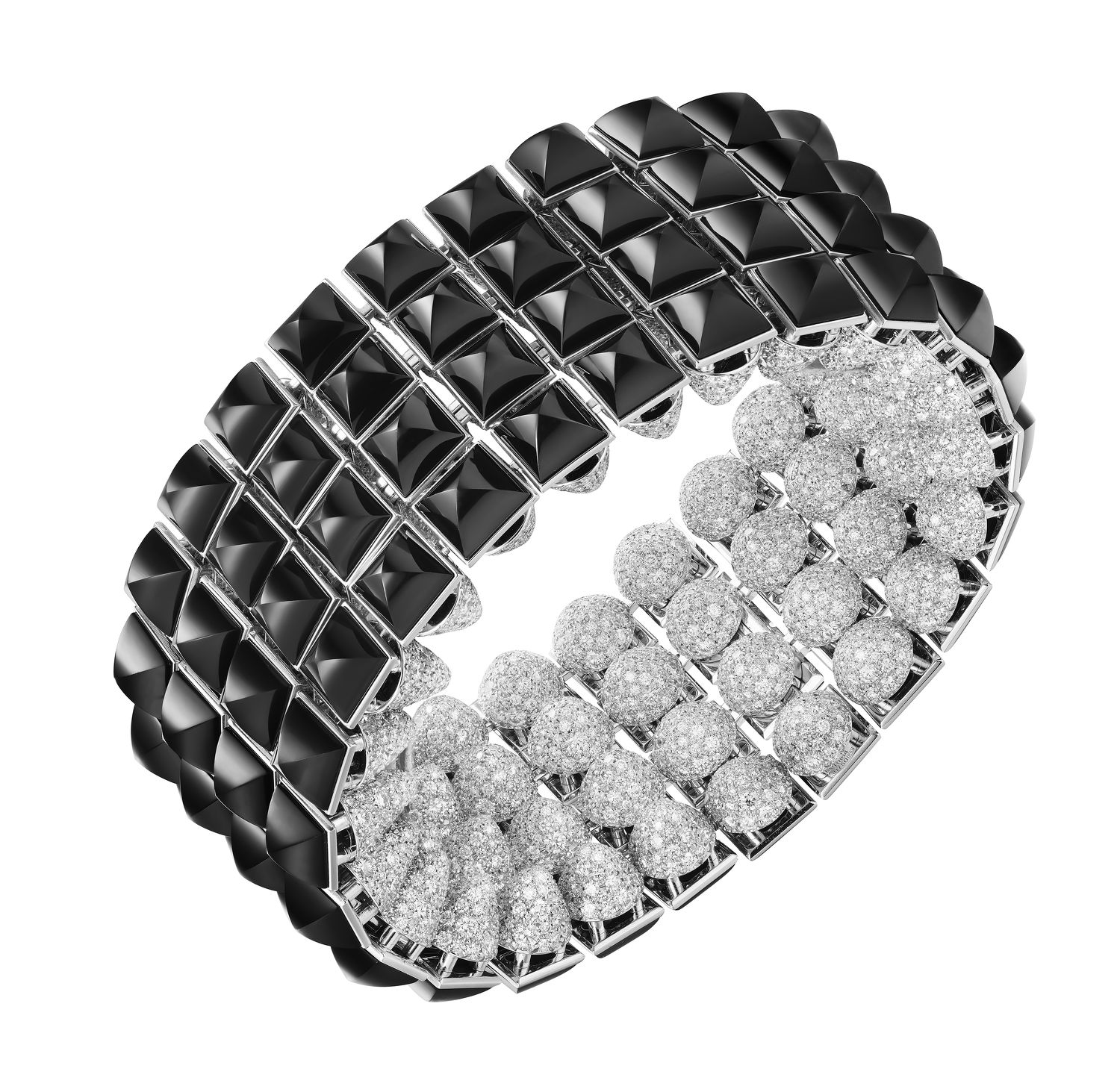 he cuff or choker with onyx clous carrés and diamond studs - THE EDGE SINGAPORE