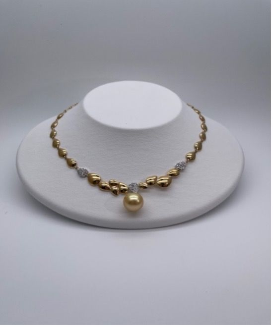 South Sea Gold Pearl and Diamond Necklace - THE EDGE SINGAPORE