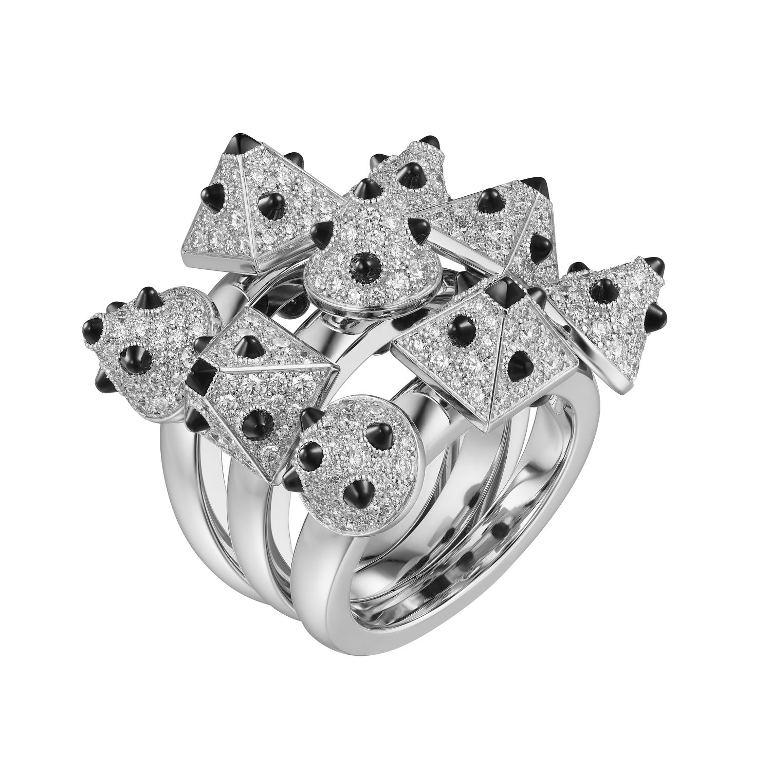 articulated ring dotted with pyramidal diamond and onyx studs - THE EDGE SINGAPORE