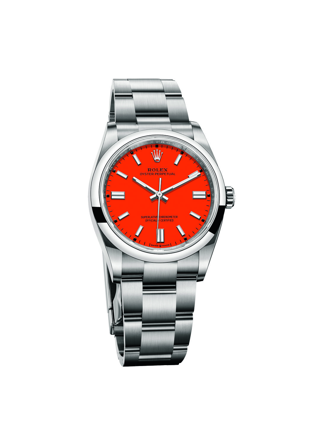 Oyster Perpetual 36 with coral red dial - THE EDGE SINGAPORE