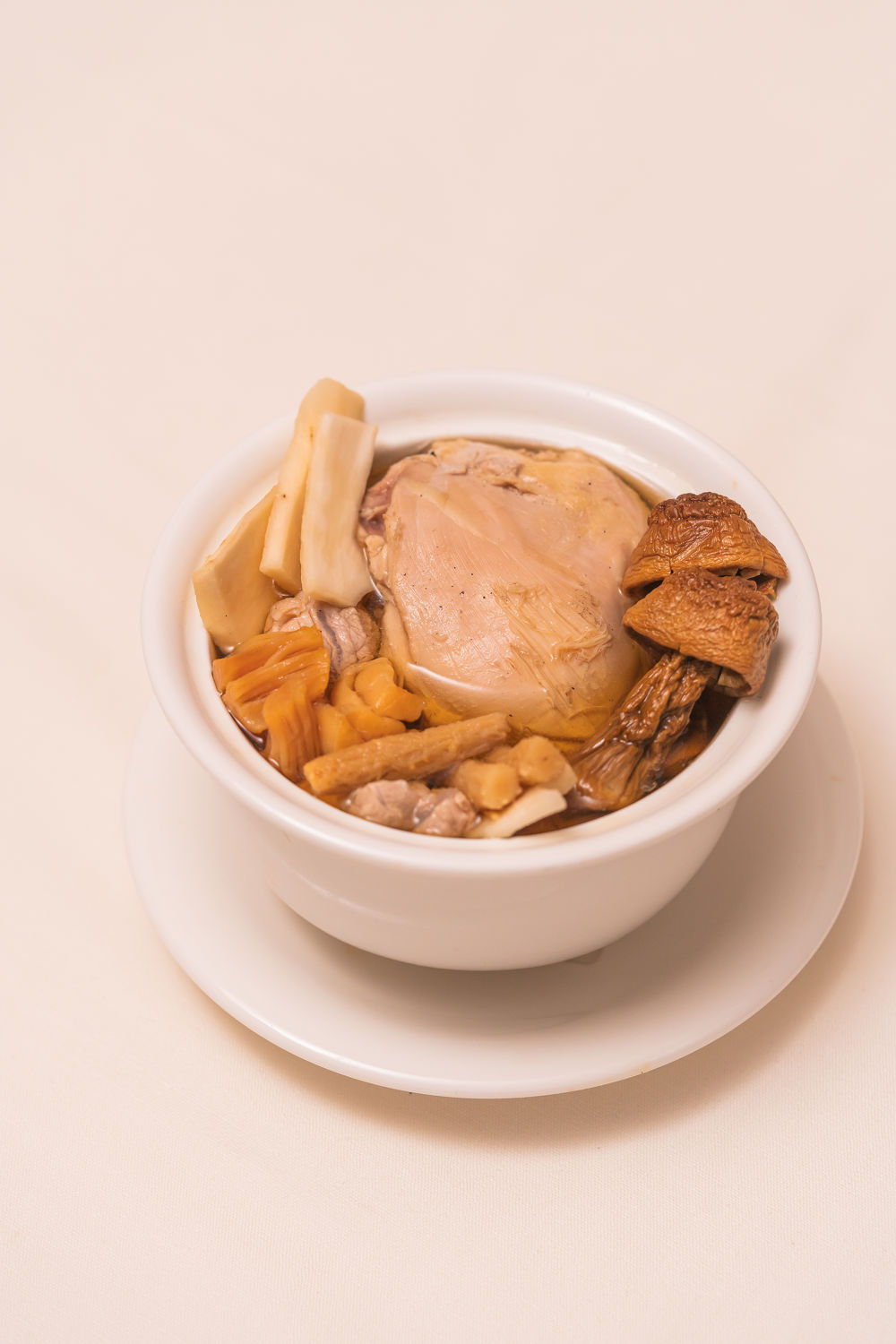Double boiled Brazilian Mushroom and Chicken Soup - THE EDGE SINGAPORE