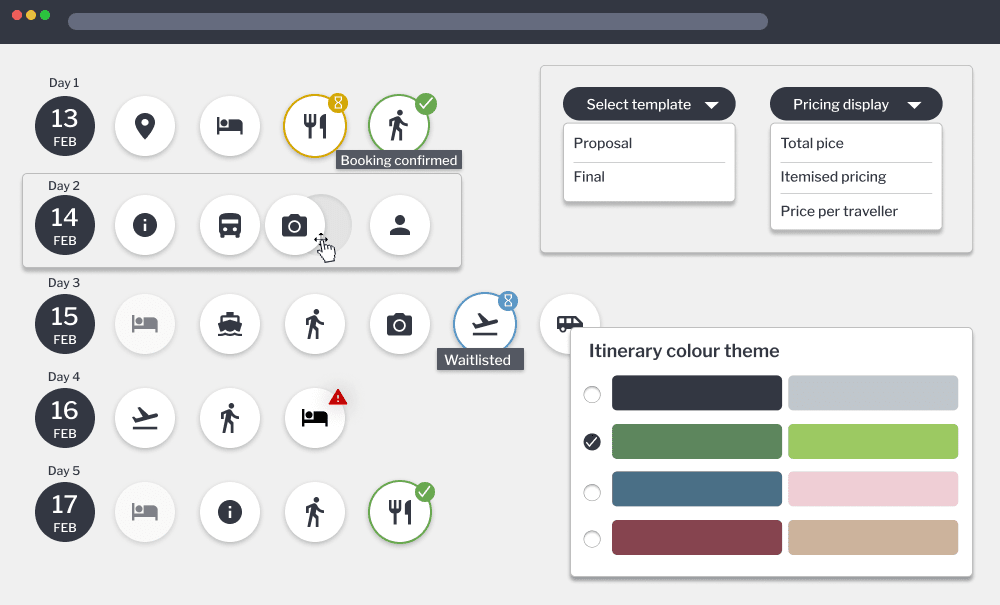 itinerary builder for tour operators